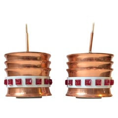 DDR Space Age Copper Pendant Lamps by VEB, 1970s