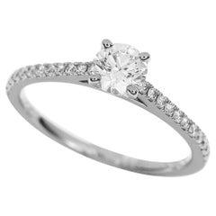 De Beers 0.40 Carat Diamond Platinum DB Classic Pave Solitaire Ring