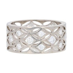De Beers 1.28ctw Round Brilliant Diamond Band, 18 Karat White Gold Eternity Ring