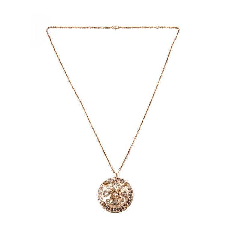De Beers 18 Karat Rose Gold Diamond Hope Talisman Large Pendant Necklace For Sale 2