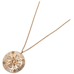 De Beers 18 Karat Rose Gold Diamond Hope Talisman Large Pendant Necklace