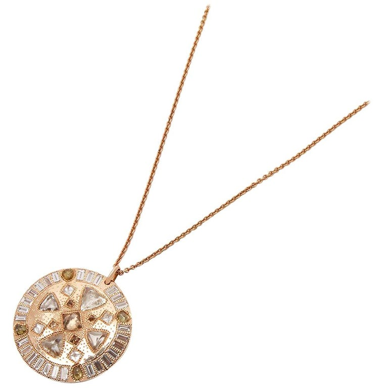 De Beers 18 Karat Rose Gold Diamond Hope Talisman Large Pendant Necklace For Sale