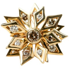 De Beers 18 Karat Yellow Gold Fancy Brown and White Diamond Floral Cocktail Ring