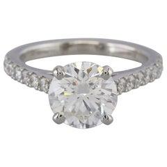 De Beers Diamond Solitaire Engagement Ring Platinum