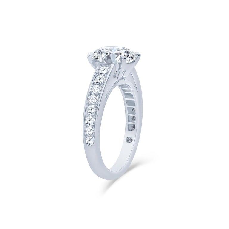 Round Cut De Beers 2.40 Carat Round Brilliant Cut Diamond Engagement Ring, GIA For Sale