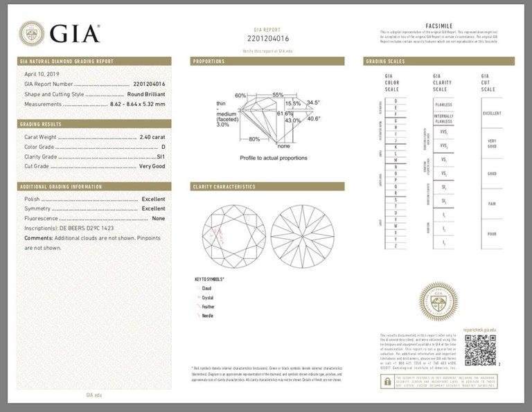 De Beers 2.40 Carat Round Brilliant Cut Diamond Engagement Ring, GIA For Sale 2