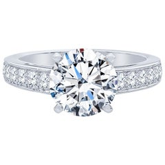 De Beers 2.40 Carat Round Brilliant Cut Diamond Engagement Ring, GIA