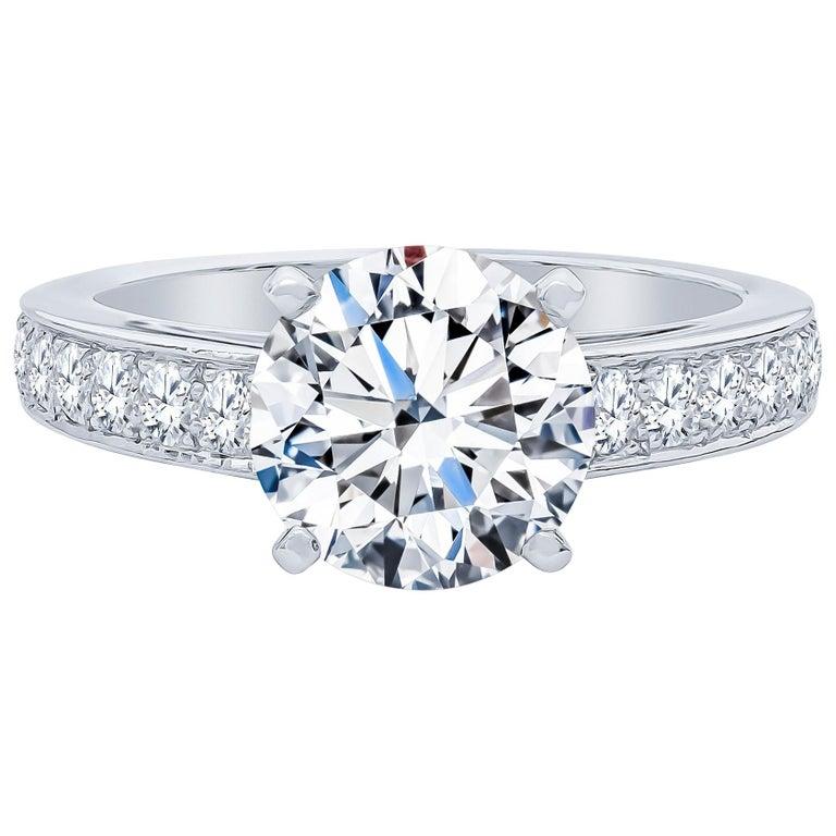 De Beers 2.40 Carat Round Brilliant Cut Diamond Engagement Ring, GIA For Sale