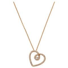 De Beers Classic Heart Diamond 18K Rose Gold Pendant Necklace