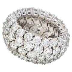 De Beers Diamond Four Row Domed Cocktail Ring in 18 Karat White Gold