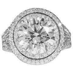 De Beers GIA Certified 5.01 Carat H SI1 Round Brilliant Cut Diamond & Plat. Ring