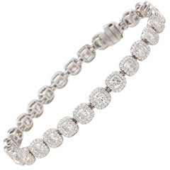 De Beers Platinum Cushion Cut 12.83 Carat Diamond Aura Bracelet