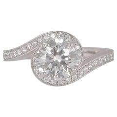 De Beers Platinum Diamond Caress Engagement Ring 1.24 Carat GIA Certified
