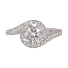 De Beers Platinum Diamond Caress Engagement Ring 1.24 Carat GIA Certified