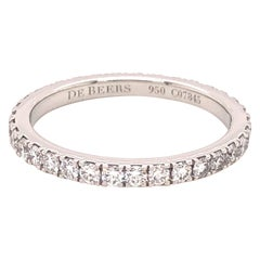 De Beers Platinum Diamond Pave Eternity Band 0.52 Carat