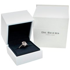 De Beers Platinum Oval Solitaire Diamond Ring - Size N1/2