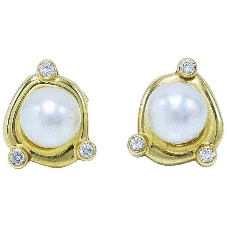De Beers Rainfall Pearls and Diamond Earrings in 18 Karat Gold with Papers For Sale