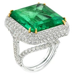de Boulle High Jewelry Collection Moghul Ring 36.47 Carat Colombian Emerald