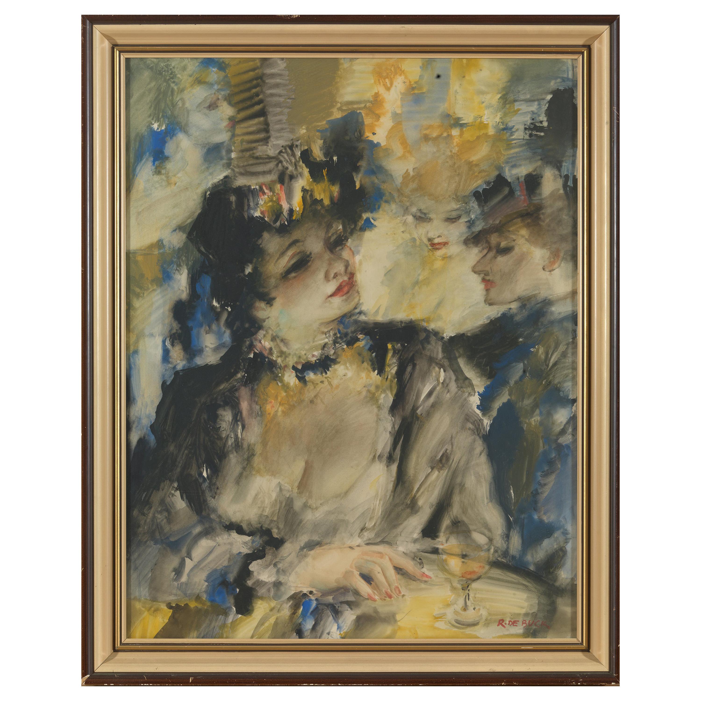 De Buck Raphael, Courtesans, Watercolor, Framed and Signed