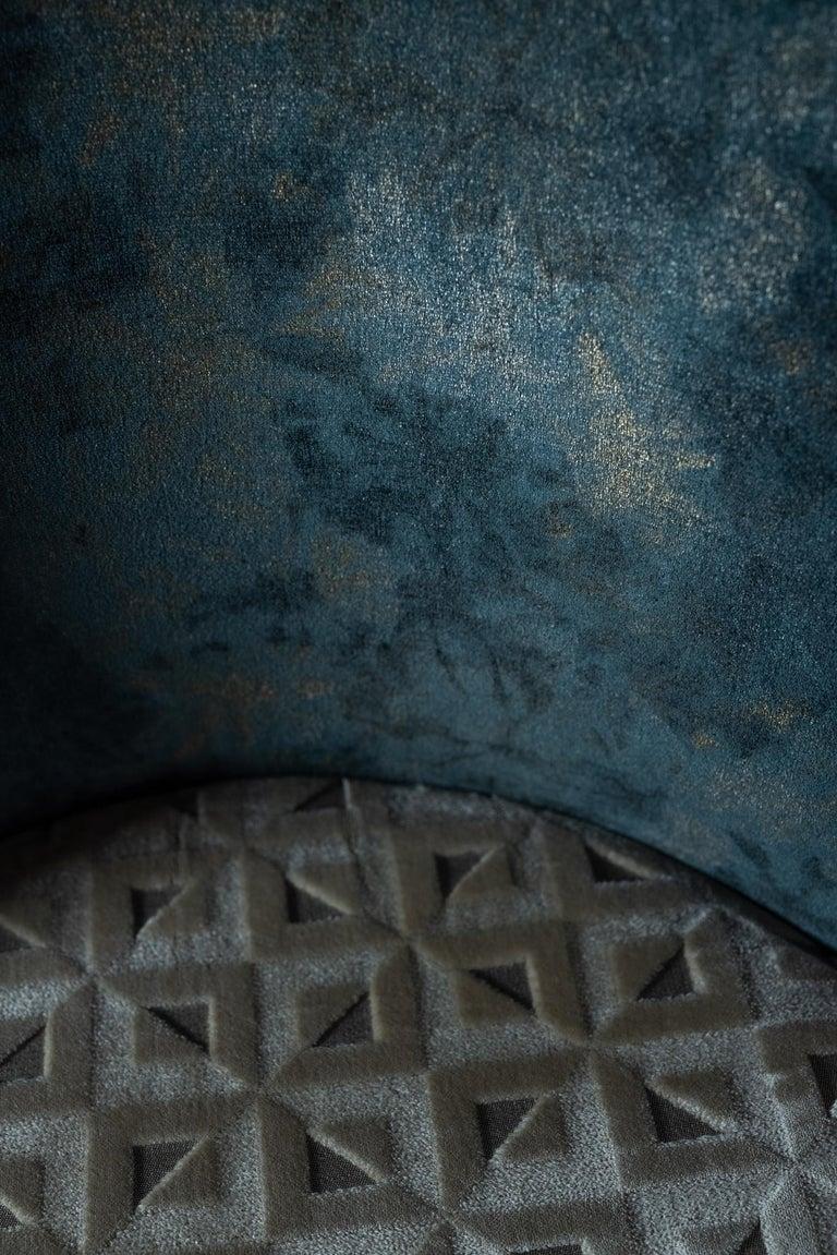 De Castro Chair Beech Dark Brown Stain Polished Brass Blue-Green Beige Velvet For Sale 3