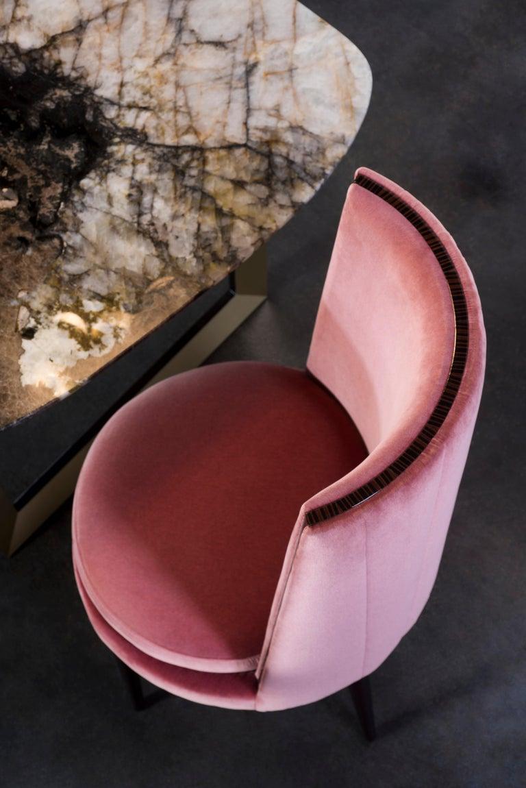 De Castro Chair Beech Dark Brown Stain Polished Brass Blue-Green Beige Velvet For Sale 7