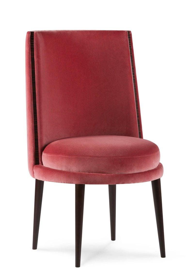 De Castro Chair Beech Dark Brown Stain Polished Brass Blue-Green Beige Velvet For Sale 8