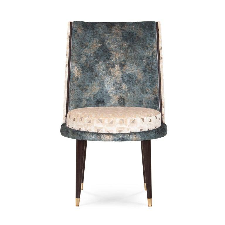 Modern De Castro Chair Beech Dark Brown Stain Polished Brass Blue-Green Beige Velvet For Sale