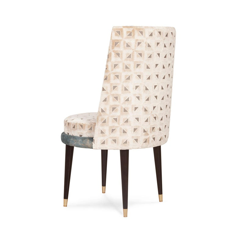 Portuguese De Castro Chair Beech Dark Brown Stain Polished Brass Blue-Green Beige Velvet For Sale