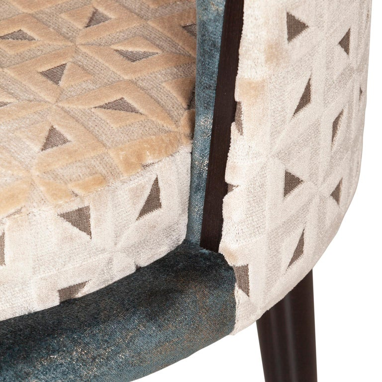 Hand-Crafted De Castro Chair Beech Dark Brown Stain Polished Brass Blue-Green Beige Velvet For Sale