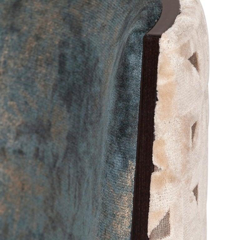 De Castro Chair Beech Dark Brown Stain Polished Brass Blue-Green Beige Velvet In New Condition For Sale In Cartaxo, PT