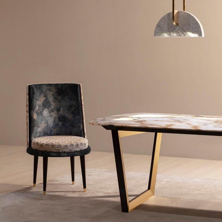 De Castro Chair Beech Dark Brown Stain Polished Brass Blue-Green Beige Velvet For Sale 1