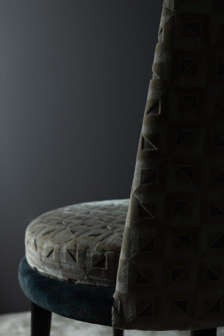 De Castro Chair Beech Dark Brown Stain Polished Brass Blue-Green Beige Velvet For Sale 2