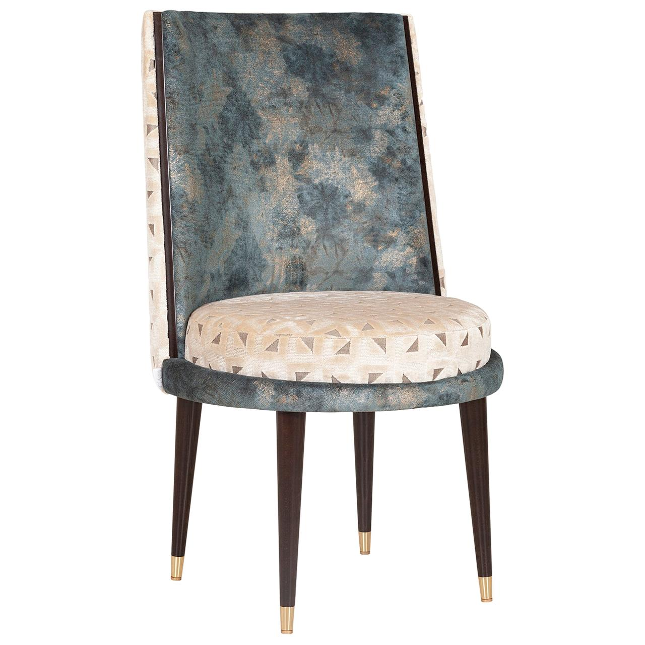 De Castro Chair Beech Dark Brown Stain Polished Brass Blue-Green Beige Velvet