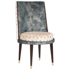 De Castro Chair Beech Dark Brown Stain Polished Brass Blue-Green Beige Velvet