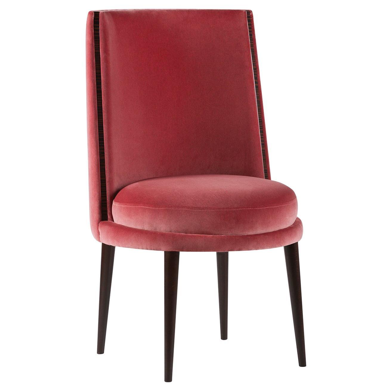 De Castro Chair Beech Dark Brown Stain Ruby Pink Cotton Velvet Ebony
