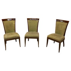 De Coene, 3 Large Art Deco Chairs in Solid Mahogany and Velvet, circa 1930