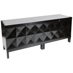 De Coene Brutalist Sideboard in Black Stained Oak, Belgium, 1970s