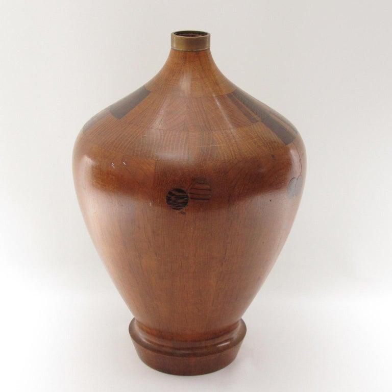 Brass De Coene Freres 1940s Art Deco Modernist Mahogany Marquetry Vase For Sale