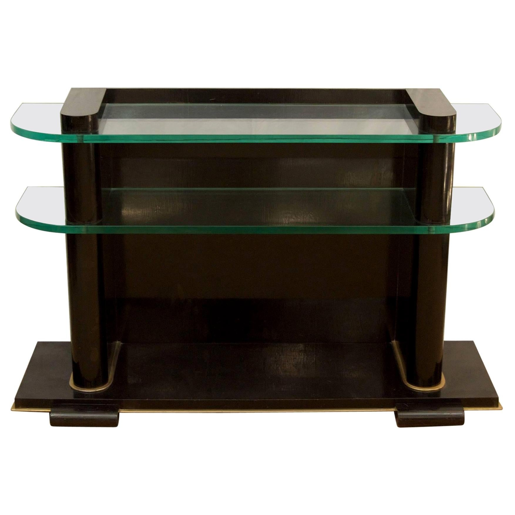 'De Coene Frères Art Deco Ebonized and Glass Console'