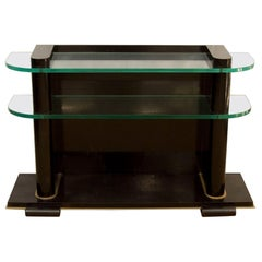 'De Coene Frères Art Deco Ebonized and Glass Console'