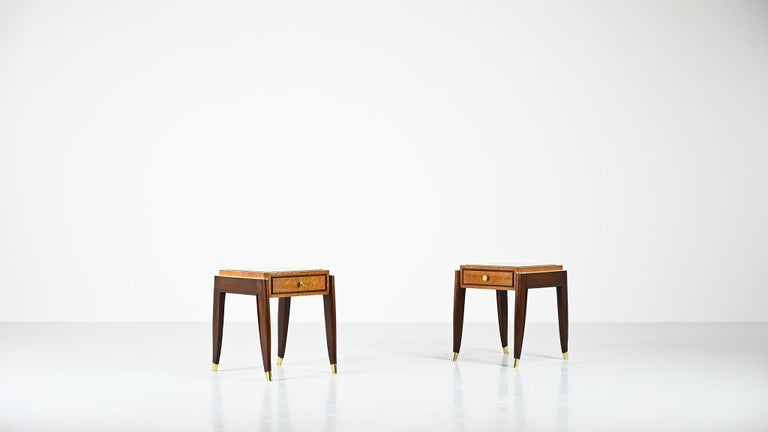 De Coene Frères, Ascribed to, a Pair of Art Déco Nightstands For Sale 10
