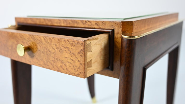 Brass De Coene Frères, Ascribed to, a Pair of Art Déco Nightstands For Sale