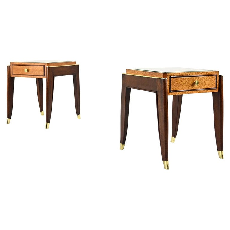 De Coene Frères, Ascribed to, a Pair of Art Déco Nightstands For Sale