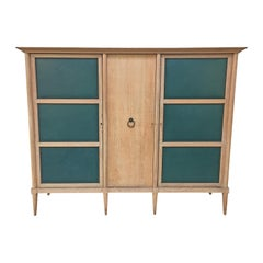 De Coene, Large Oak and leather Art Deco Wardrobe circa 1930, Lots of Storage