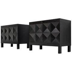 De Coene Pair of Small Sideboards in Black Stained Oak
