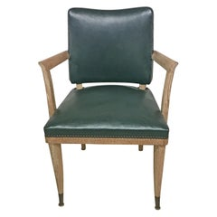De Coene, Rare Armchair Art Deco in Oak and Leather, circa 1930-1940