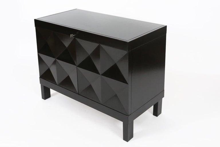 Brutalist De Coene Small Sideboard or Bar Cabinet in Black Stained Oak, 1970s For Sale