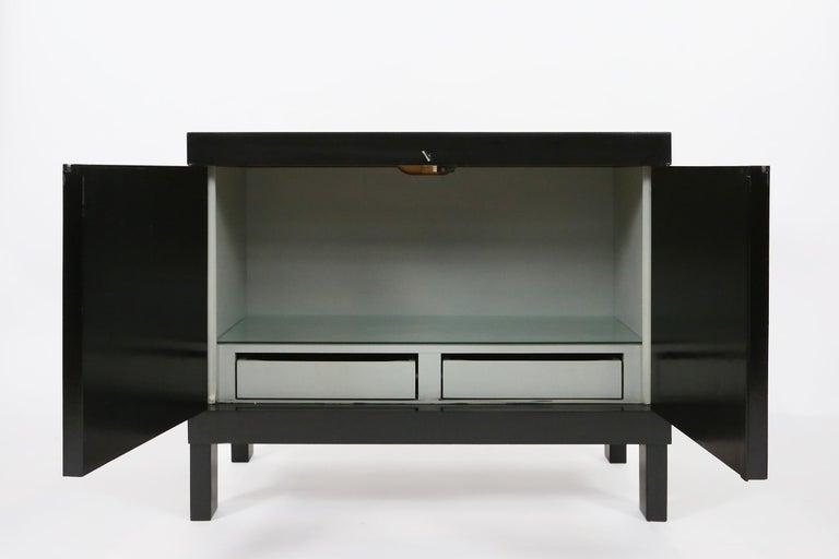 Ebonized De Coene Small Sideboard or Bar Cabinet in Black Stained Oak, 1970s For Sale
