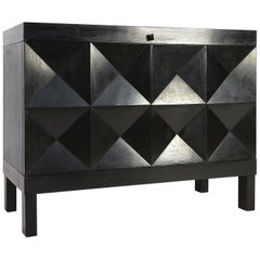De Coene Small Sideboard or Bar Cabinet in Black Stained Oak, 1970s