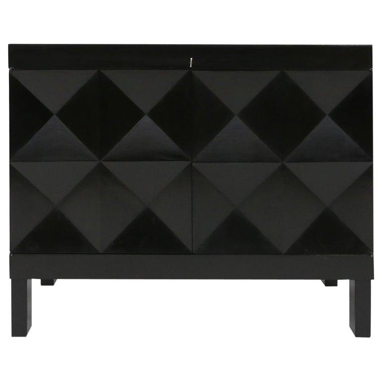 De Coene Small Sideboard or Bar Cabinet in Black Stained Oak, 1970s For Sale